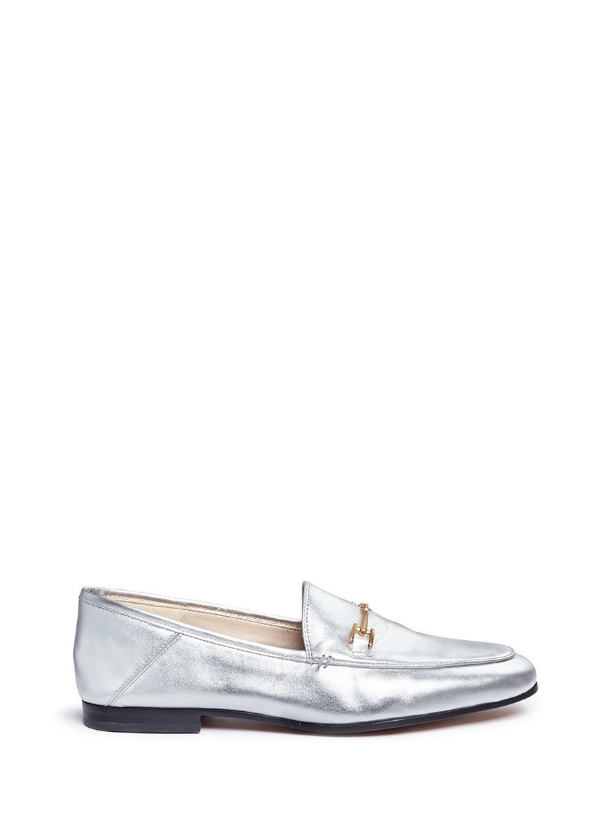 bcdd1ac6dcf Sam Edelman  Loraine  Horsebit Metallic Leather Loafers In Soft Silver