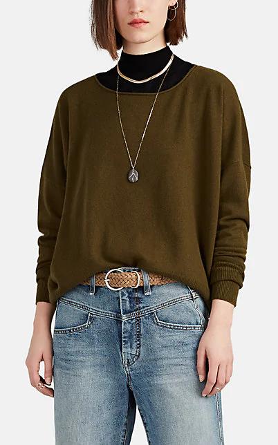 Nili Lotan Odeya Silk Sweater In Dk. Green