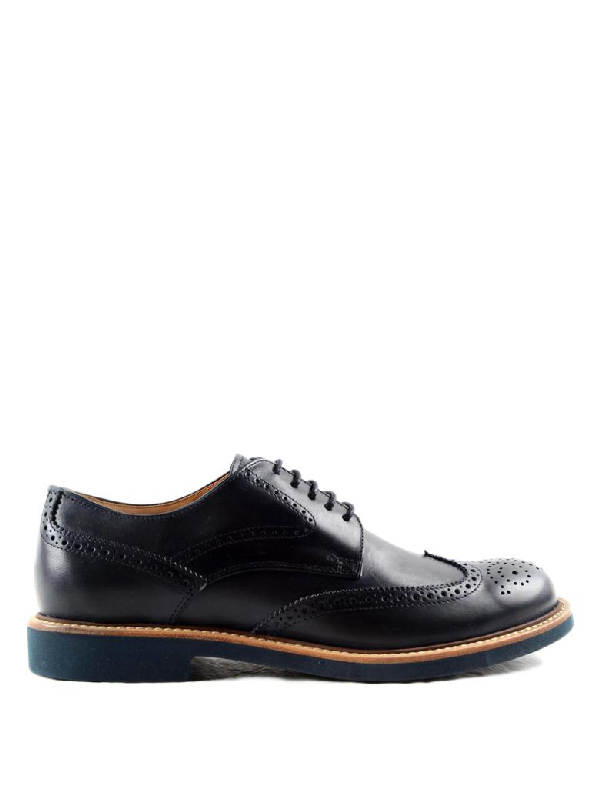 Tod's Leather Derby Brogue Shoes In Blu