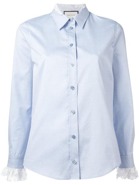 Gucci Lace Trim Oxford Shirt In Blue