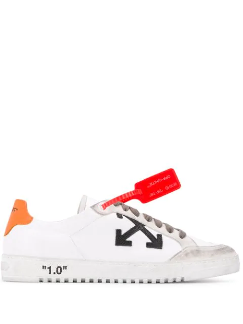 Off-White 2.0 Distressed Suede-Trimmed Leather Sneakers In 0119 White/Orange