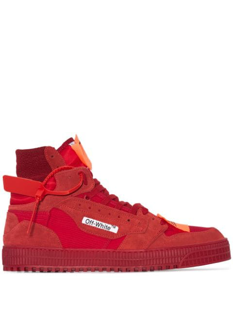 "Off-White ""Off-Court"" 3.0 Red Canvas Hi-Top Sneakers"