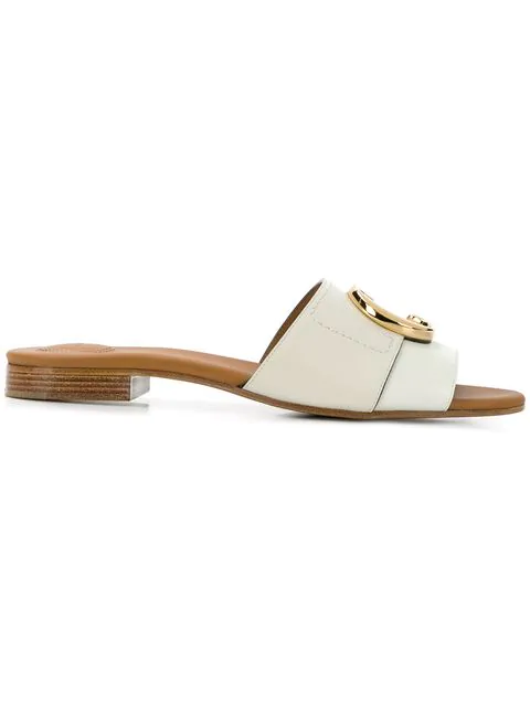 ChloÉ C Crocodile-Effect Leather Sliders In White