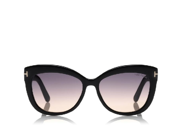 Tom Ford Women's Alistair Polarized Square Sunglasses, 56mm In Shiny Black / Gradient Smoke