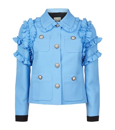 Gucci Ruffle-trimmed Cotton-blend Cady Jacket In Blue