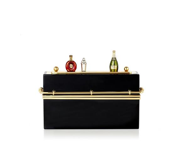 Charlotte Olympia Mini Bar Gold-Tone And Perspex Clutch In Perspex%2Fmetal_002_Black%2Fgold