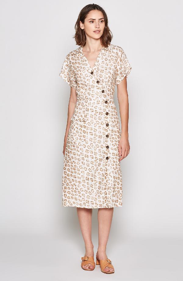 Joie Coady Leopard-Printed Shirt Dress In Porcelain