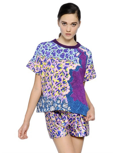 Peter Pilotto Short Sleeve Printed Cotton Sweatshirt In Blue/Purple