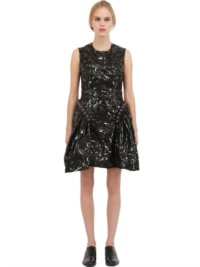 Simone Rocha Patent Floral Print Dress With Structured Skirt In Black
