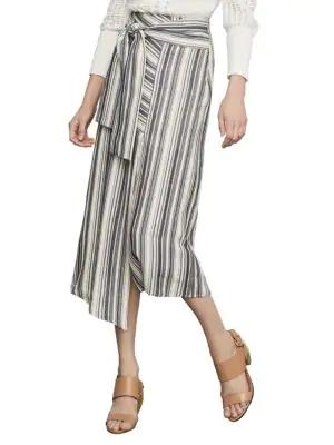 Bcbgmaxazria Striped Asymmetrical Cotton Blend Midi Skirt In Cream Combo