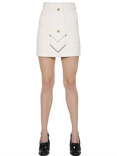 Jw Anderson Pinstriped Cotton Mini Skirt With Tie In Beige