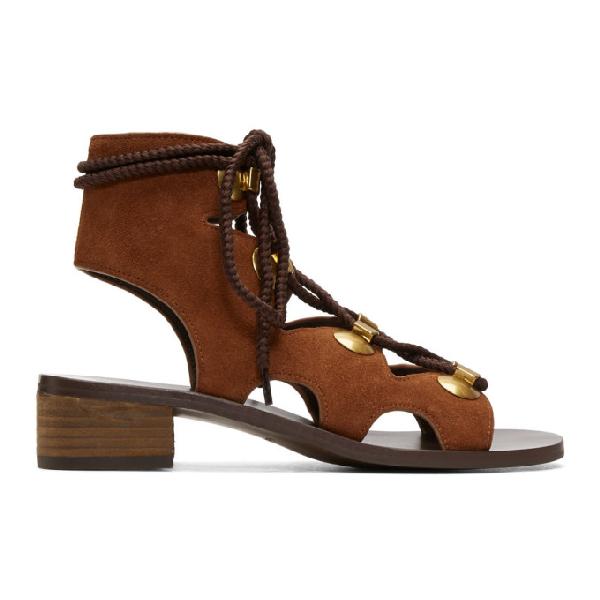 See By ChloÉ See By Chloe Orange Suede Gladiator Tie Sandals In 221 Rust