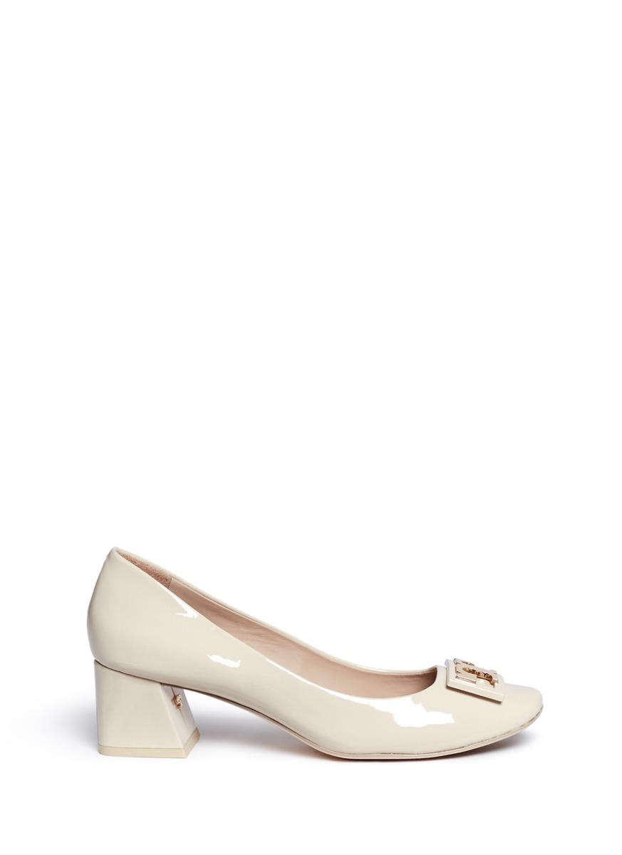 f6f3fb4548180 Tory Burch Gigi Dulce De Leche Soft Patent Leather Mid-Heel Pump In Nude