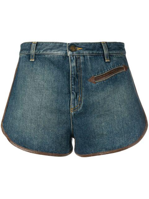 Saint Laurent Blue Women's Contrast Piping Denim Shorts