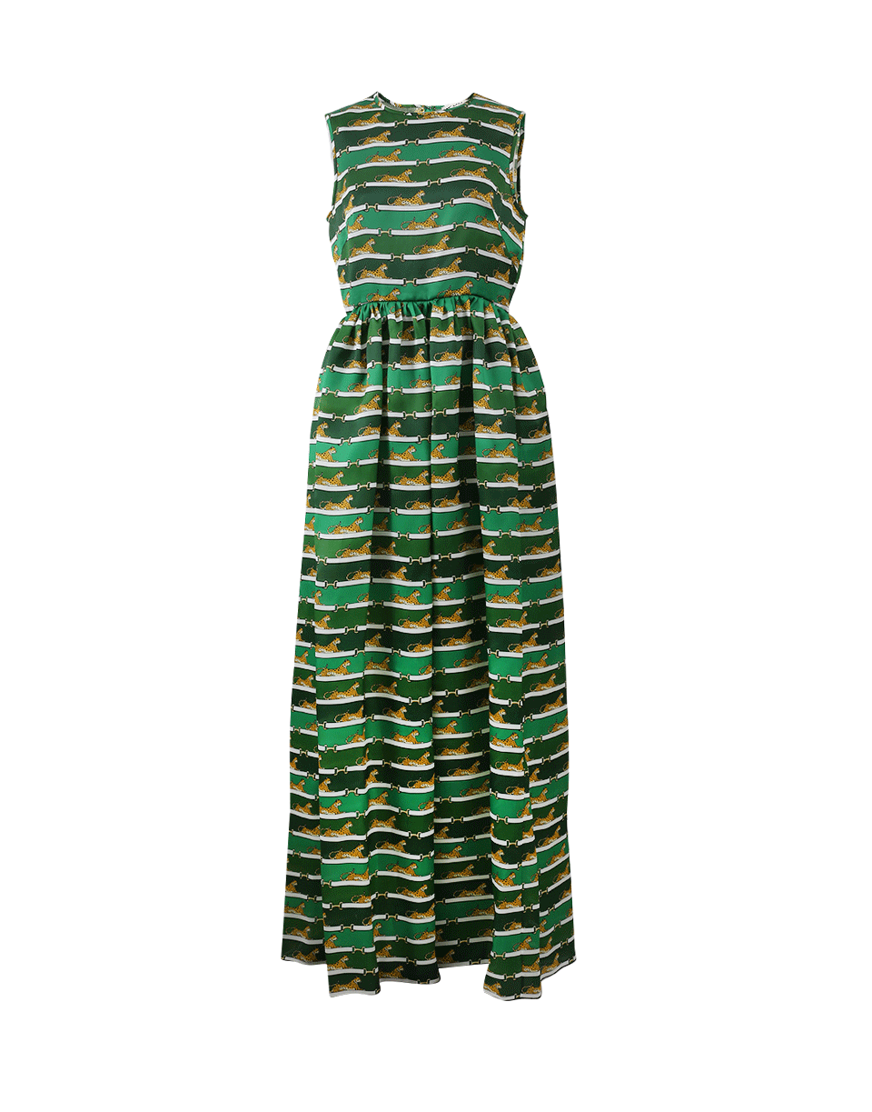 Mary Katrantzou Shaw Striped Cheetah-print Organza Dress In Green