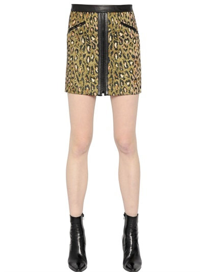 Saint Laurent Nappa Leather & Lurex Jacquard Skirt In Gold/Black