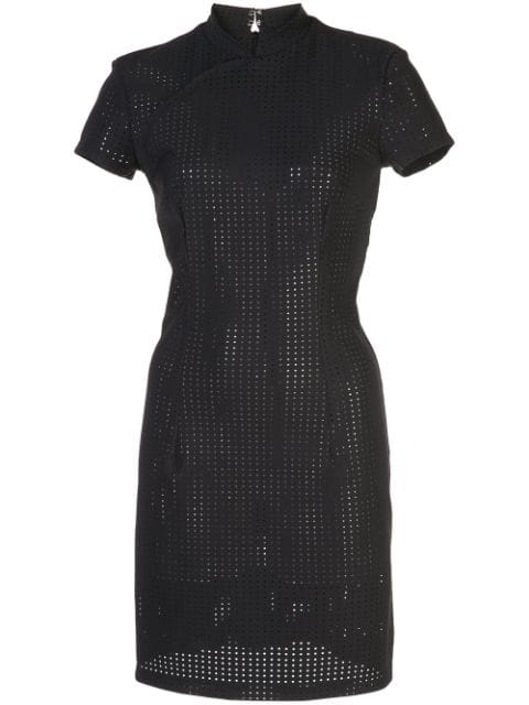 Marcia Perforated Fitted Mini Dress In Black