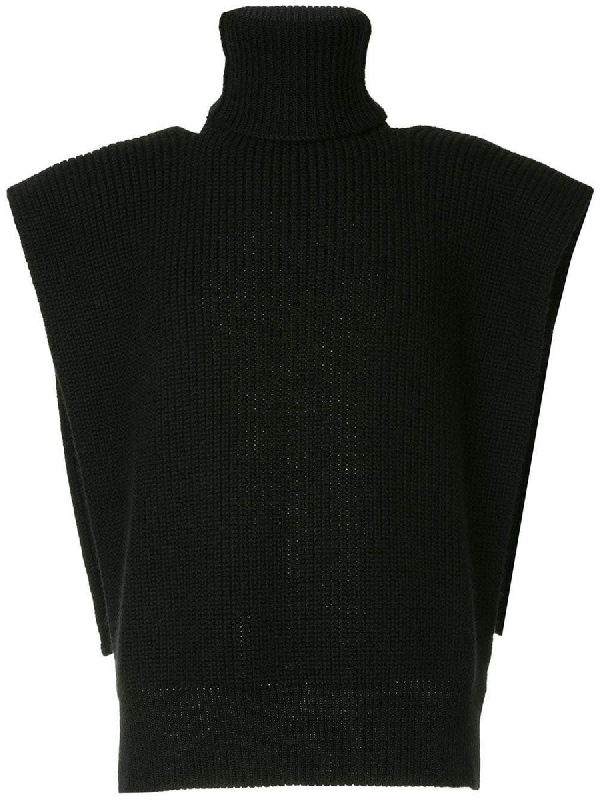 Raf Simons Turtleneck Vest With Patches Black