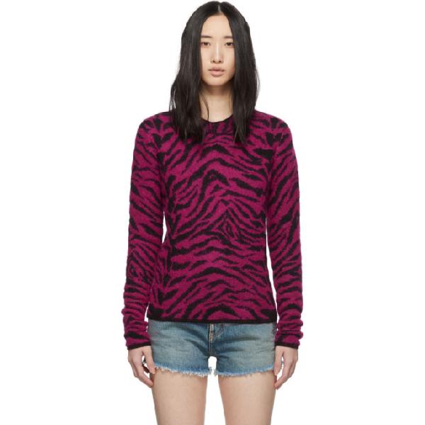Saint Laurent Pink Women's Zebra Intarsia Sweater In 6841 Pink