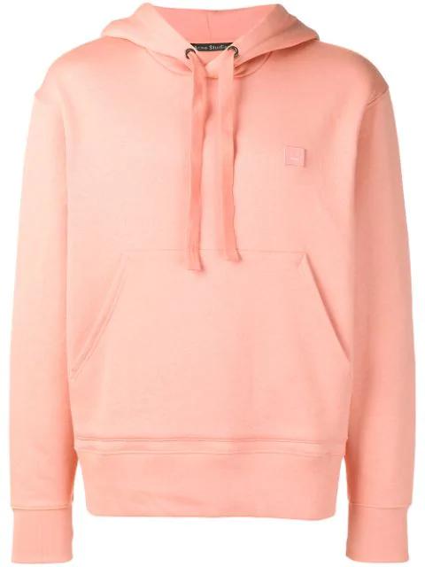 Acne Studios Ferris Face AppliquÉd Cotton-jersey Hoodie In Blush