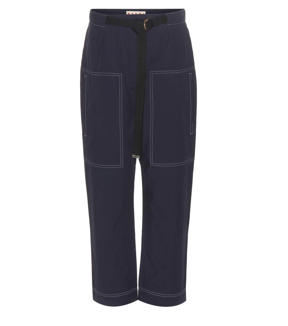 Marni Cotton Trousers In Light Eavy