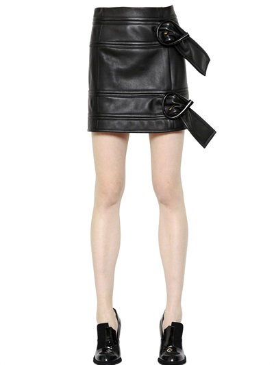 J.W.Anderson Belted Nappa Leather Mini Skirt In Black