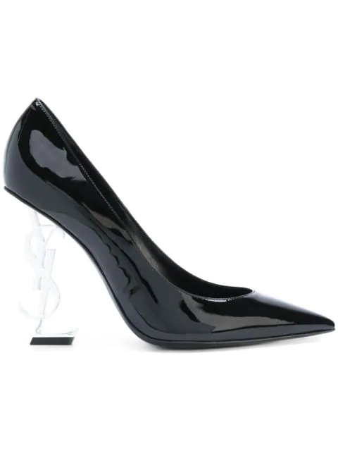 Saint Laurent Opyum Pumps In Patent Leather With Silver Tone Heel In 1000 Black