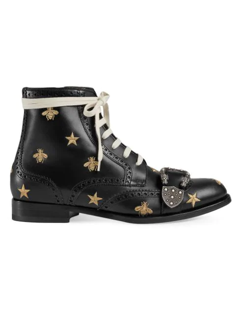 Gucci Queercore Embroidered Brogue Boot - Black In 1000 Black