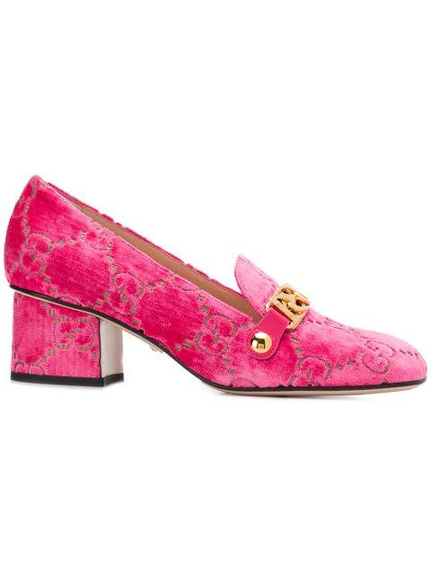 Gucci Sylvie Embossed Velvet Pumps In Pink