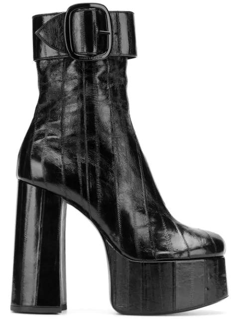 Saint Laurent Eel Leather Billy Platform Buckle 踝靴 In Black