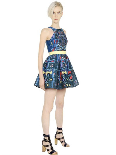 Peter Pilotto Printed 3D Waffle Textured Dress In Multicolor