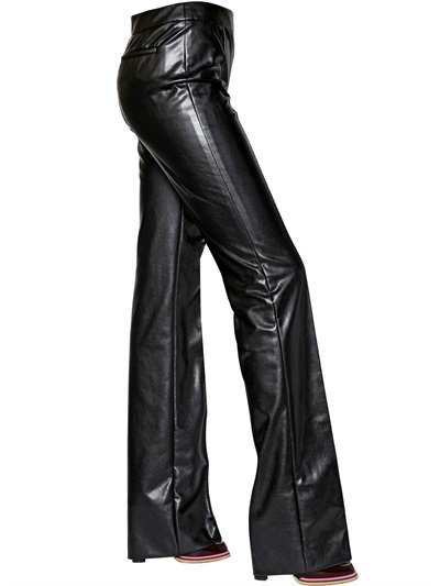 Sonia Rykiel Flared Stretch Bonded Leather Pants In Black