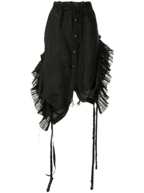 Ann Demeulemeester Pleated Inserts Skirt In Black
