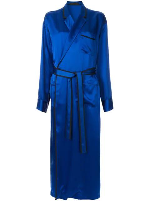Haider Ackermann Satin Robe Dress In Blue