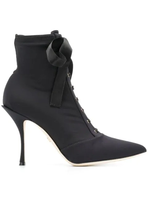 Dolce & Gabbana 90Mm Jersey Lace-Up Ankle Boots In Black