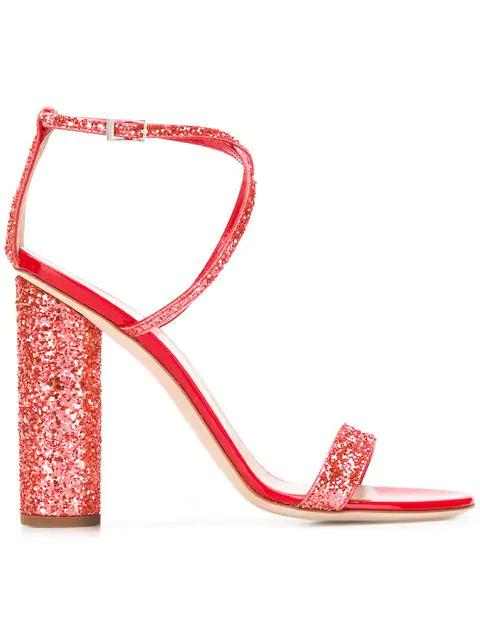 Giuseppe Zanotti Women's Svamp Glitter Crisscross High-Heel Sandals In Orange