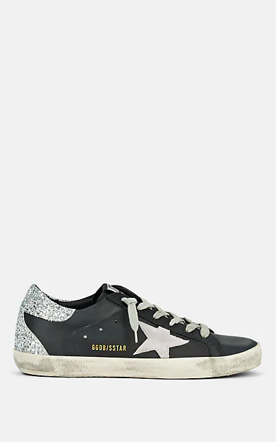Golden Goose Superstar Leather & Glitter Low-Top Sneakers In Black