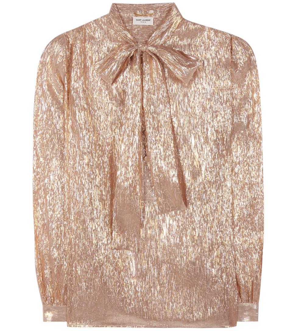 Saint Laurent Silk-blend Pussy-bow Blouse In Rose Or Argeet