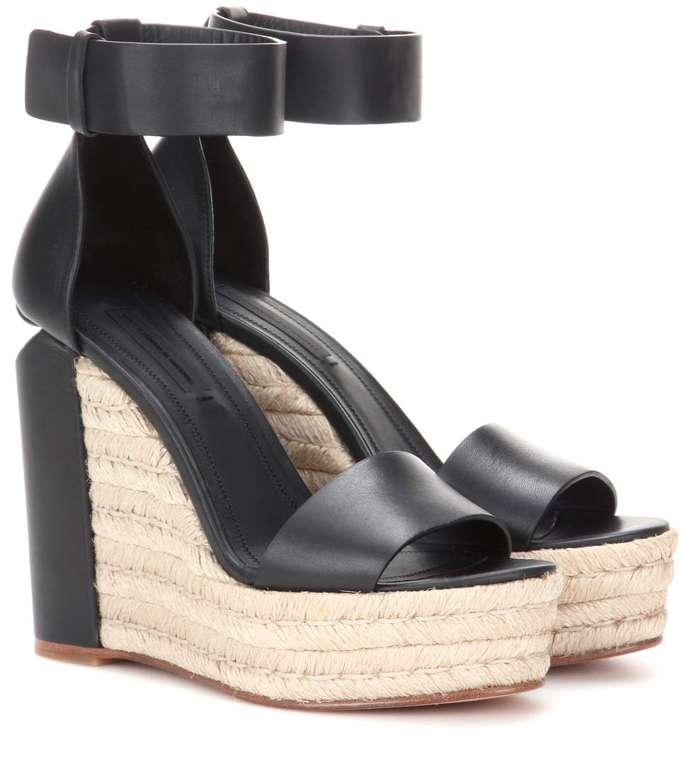 Alexander Wang Leather Espadrille Wedges In Llack