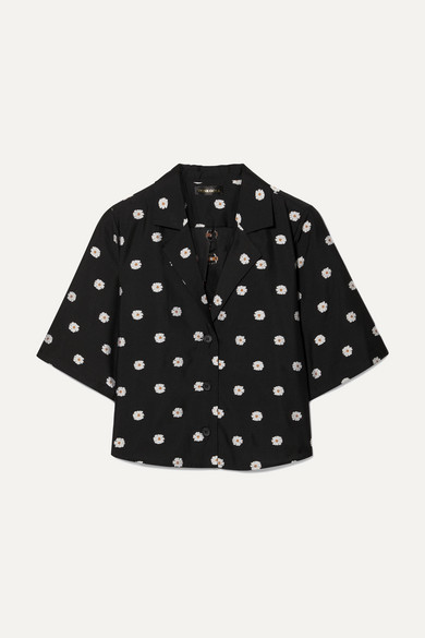 Stine Goya Athena Cropped Floral-jacquard Shirt In Black