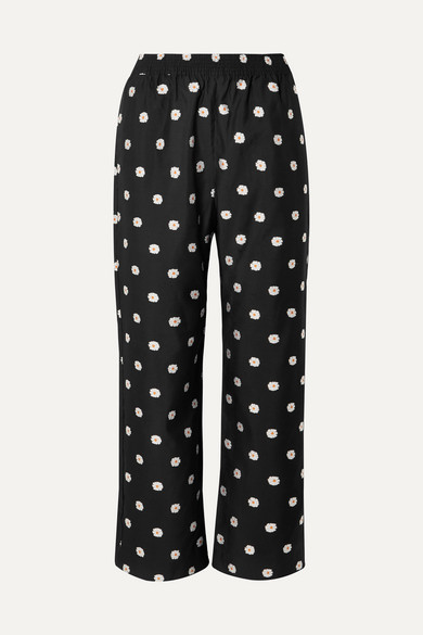 Stine Goya Debra Cropped Floral-jacquard Straight-leg Pants In Black