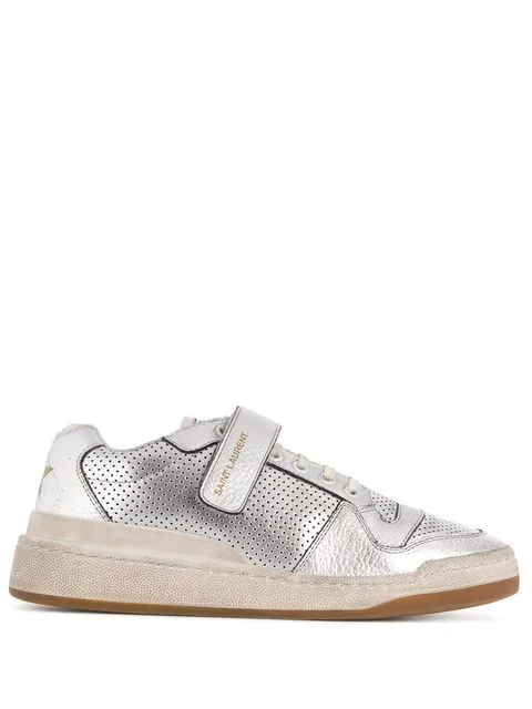 Saint Laurent Travis Logo-Print Distressed Perforated Metallic Leather Sneakers In Silver
