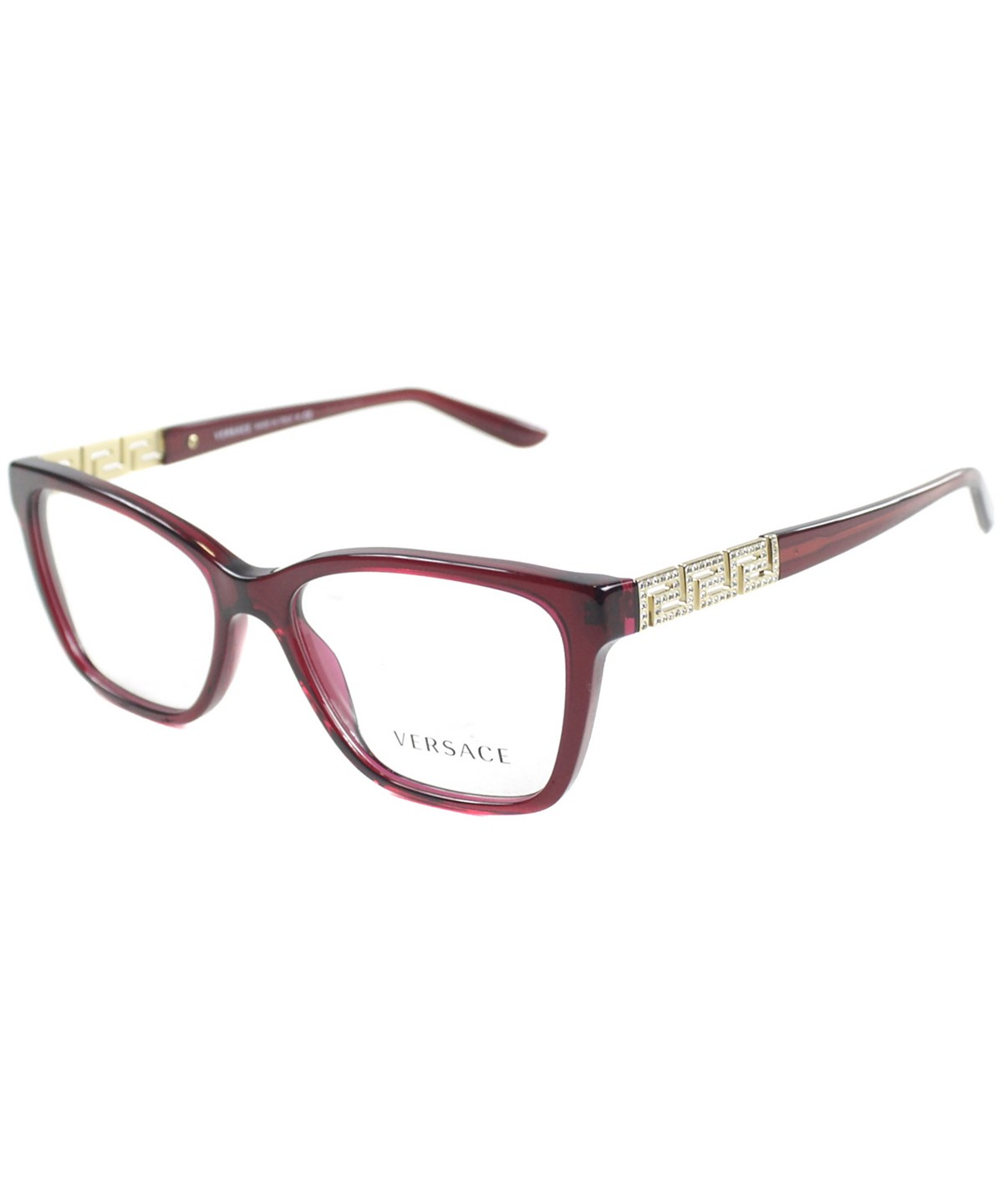 Versace Rectangle Plastic Eyeglasses In Transparent Red And Gold Greca