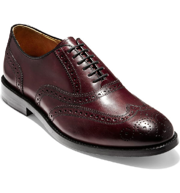 525469be01 Cole Haan Men's Kneeland Leather Wingtip Brogue Oxfords In Oxblood Leather