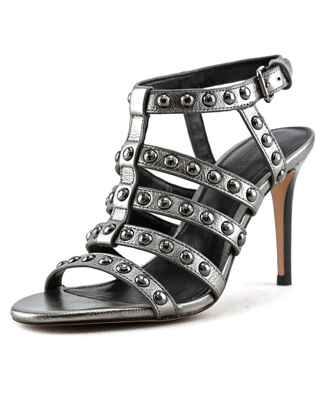 Coach Rose Metallic Tumbled Women  Open Toe Leather  Sandals In Grey