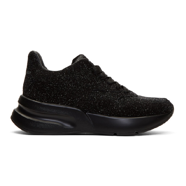 Alexander Mcqueen Runner Glitter Embellished Leather Trainers In Black