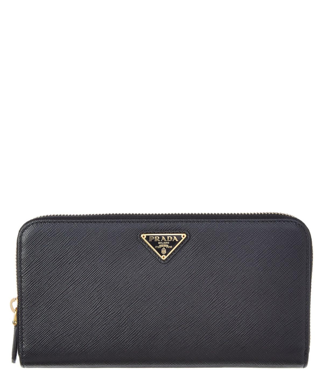Prada Saffiano Leather Zip Around Wallet' In Black