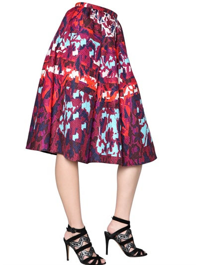Peter Pilotto Long Emma Waffle Silk Skirt In Red