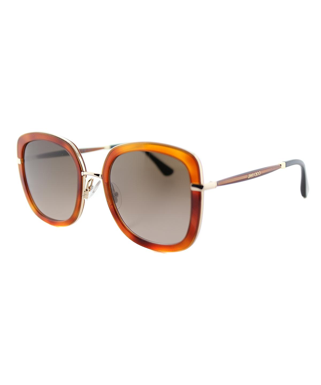 Jimmy Choo Square Plastic Sunglasses In Havana Brown
