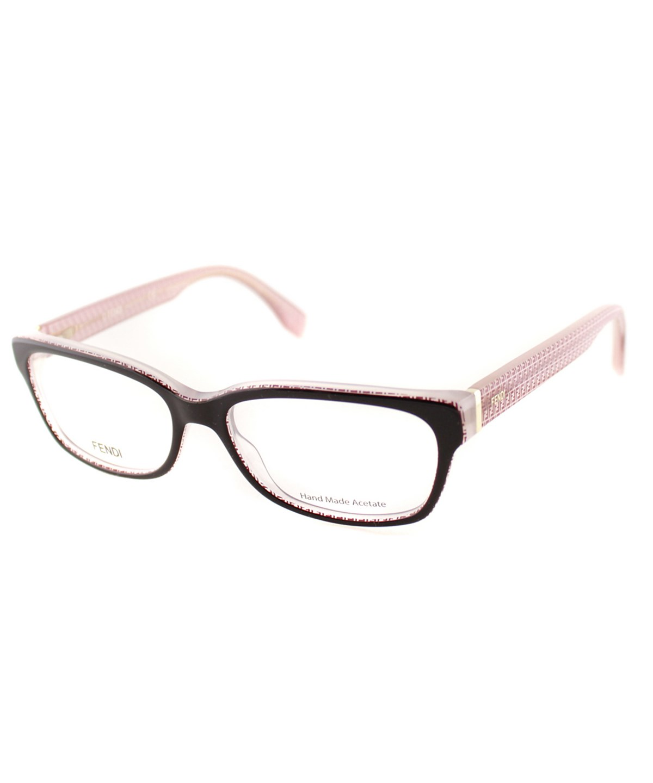Fendi Rectangle Plastic Eyeglasses In Brown Burgundy Pink